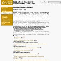 L'énigme de la compétence en éducation - Publications de la Section des Sciences de l'Education