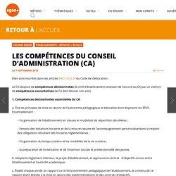 Les compétences du Conseil d'Administration (CA)