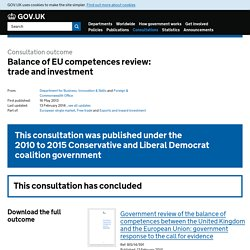Balance of EU competences review: trade and investment - Consultations