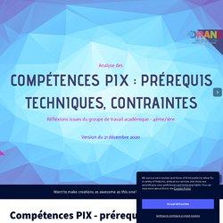 Compétences PIX - prérequis et contraintes