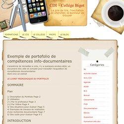 Exemple de portofolio de compétences info-documentaires « CDI – Collège Bigot