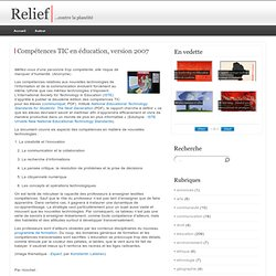 Compétences TIC en éducation, version 2007