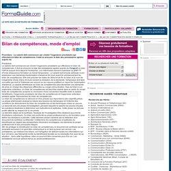 Bilan de compétences, mode d'emploi - Formaguide.com