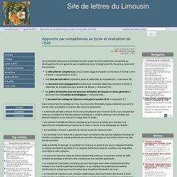 Approche par compétences au lycée et évaluation de l'EAF - Site de lettres du Limousin