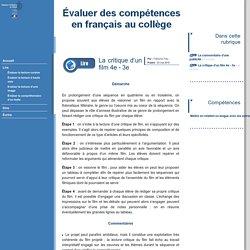 Évaluer des compétences en français au collège - La critique d'un film 4e - 3e