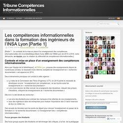 Les compétences informationnelles dans la formation des ingénieurs de l'INSA Lyon [Partie 1]