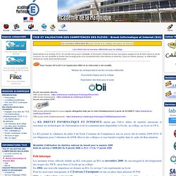 les pages de la Cellule TICE - TICE ET VALIDATION DES COMPETENCES DES ELEVES - Brevet Informatique et Internet (B2i)