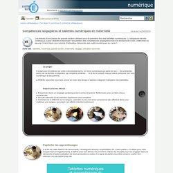 numérique - Compétences langagières et tablettes numériques en maternelle
