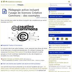 Pédagogie active incluant l'usage de licences Créative Commons : des exemples - Compétences numériques