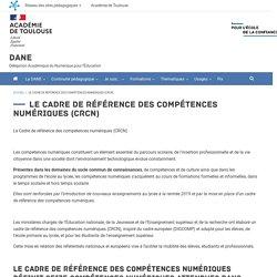 Le Cadre de référence des compétences numériques (CRCN)