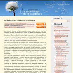 De la question des compétences en philosophie