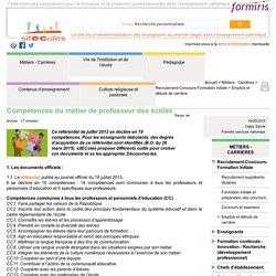 Compétences du métier de professeur des écoles - Document sitEColes