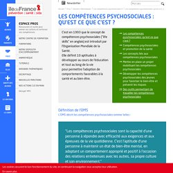 Lesconcepts liés aux compétences psychosociales : définition