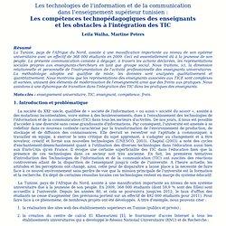 Les compétences technopédagogiques des enseignants et les obstacles à l'intégration desTIC en Tunisie