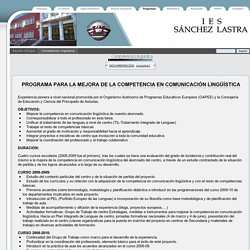 Plan de mejora de la CCL - IES SÁNCHEZ LASTRA