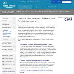 COAR » Librarians' Competencies for E-Research and Scholarly Communication