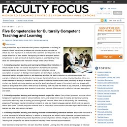 Five Competencies for Culturally Competent Teaching and Learning