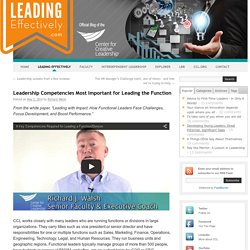 Leadership Competencies Most Important for Leading the Function