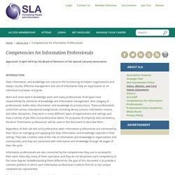 Competencies for Information Professionals Special Libraries Association