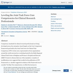 Leveling the Joint Task Force Core Competencies for Clinical Research Professionals