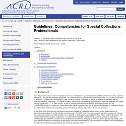 Guidelines: Competencies for Special Collections Professionals