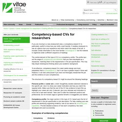 Competency-based CVs for researchers