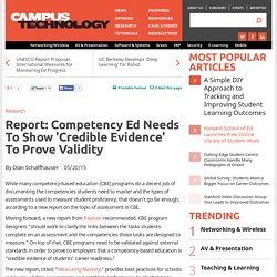 Report: Competency Ed Needs To Show 'Credible Evidence' To Prove Validity