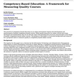 Competency-Based Education: A Framework for Measuring Quality Courses