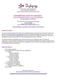 Compétition saine et malsaine : (2)Les ingrédients d'une saine compétition