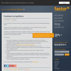 Facebook competitions | Factor 3 Blog