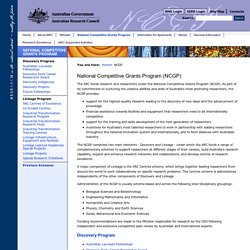 National Competitive Grants Program (NCGP) - Australian Research Council (ARC)