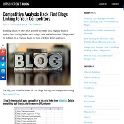 Competitive Analysis Hack: Find Blogs Linking to Your Competitors - TLC SEO