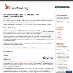 The Emerging Field of Data Markets – our competitive landscape