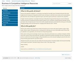 Business & Competitive Intelligence Resources (Jennifer)
