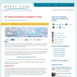 40+ Online Competitive Intelligence Tools