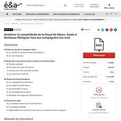 Améliorer la compétitivité de la Royal Air Maroc, basée à Bordeaux-Mérignac face aux compagnies low-cost