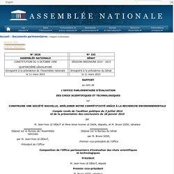 OFFICE PARLEMENTAIRE D EVALUATION DES CHOIX SCIENTIFIQUES - 2015 - CONSTRUIRE UNE SOCIÉTÉ NOUVELLE, AMÉLIORER NOTRE COMPÉTITIVITÉ GRÂCE À LA RECHERCHE ENVIRONNEMENTALE