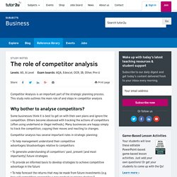 The role of competitor analysis