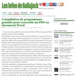 Compilation de programmes gratuits pour convertir un PDF en document Word