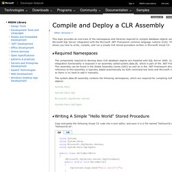Compiling and Deploying a CLR Assembly