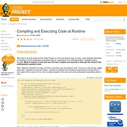 Compiling and Executing Code at Runtime