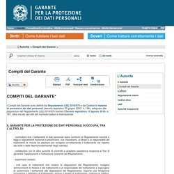 Compiti del Garante - Garante Privacy