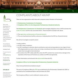 Complaints about an MP – w4mp