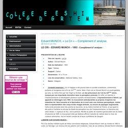 Edvard MUNCH, «Le Cri» – Complément d' analyse. » Collège GERSTHEIM