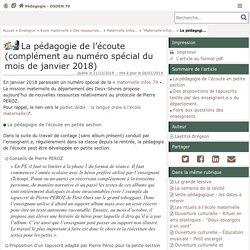 La pédagogie de l'écoute (complément au numéro spécial du mois de janvier 2018) - Pédagogie - Direction des services départementaux de l'éducation nationale des Deux-Sèvres