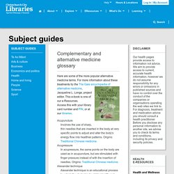 Complementary and alternative medicine glossary