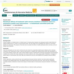 Beneficial effects of treatment with sensory isolation in flotation-tank as a preventive health-care intervention ¿ a randomized controlled pilot trial