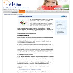 EFSA Dossier: Compléments alimentaires