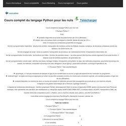 Cours complet du langage Python pour les nuls