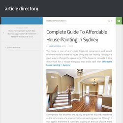 Complete Guide To Affordable House Painting In Sydney